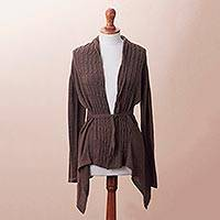 Cotton blend cardigan, 'Mahogany Feminine Enchantment' - Knit Cotton Blend Cardigan in Mahogany from Peru