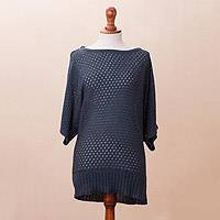 Cotton blend pullover, 'Open Elegance in Azure' - Knit Cotton Blend Pullover in Azure from Peru