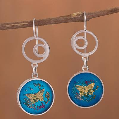 Sterling silver dangle earrings, 'Butterfly Dimension' - Sterling Silver Butterfly Dangle Earrings from Peru