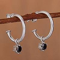 Sterling silver dangle earrings, 'Royal Hoops in Black' - Sterling Silver Half-Hoop Dangle Earrings in Black from Peru
