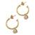 Gold plated cultured pearl dangle earrings, 'Royal Hoops' - Gold Plated Cultured Pearl Half-Hoop Dangle Earrings (image 2a) thumbail