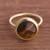 Gold plated tiger's eye single stone ring, 'Magic Pulse' - Gold-Plated Tiger's Eye Single Stone Ring from Peru thumbail