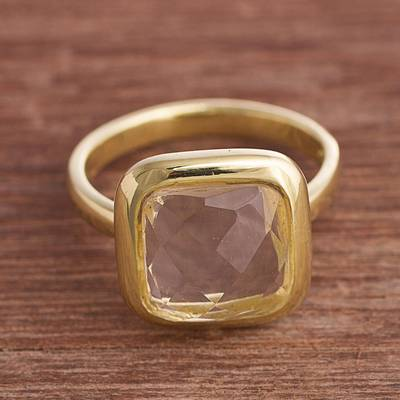 Square Gold Plated Sodalite Single Stone Ring from Peru