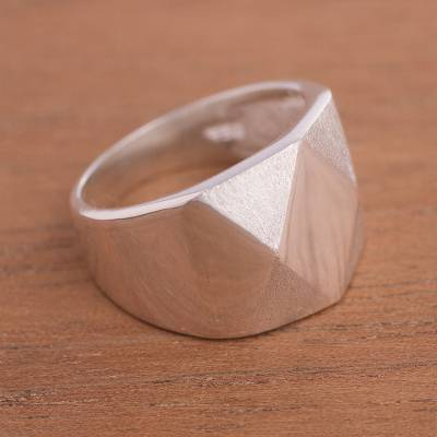 Geometric Silver Cocktail Ring Crafted in Peru