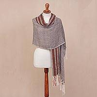 100% alpaca shawl, 'Chevron Mountain' - Handwoven 100% Alpaca Shawl with Chevron Motifs from Peru
