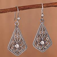 Sterling silver filigree dangle earrings, 'Royal Scroll in Antique' - Oxidized Sterling Silver Filigree Kite Dangle Earrings