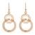 Gold plated filigree dangle earrings, 'Looped in Gold' - Gold-Plated Sterling Silver Filigree Circles Dangle Earrings (image 2a) thumbail