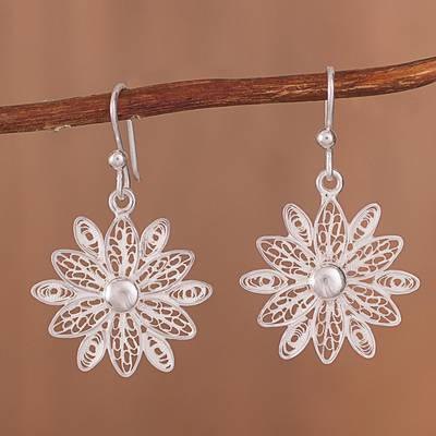 Sterling silver filigree dangle earrings, 'Gleaming Starburst Flower' - Gleaming Sterling Silver Filigree Flower Dangle Earrings