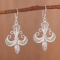Sterling silver filigree dangle earrings, 'Gleaming Elaborate Cross' - Gleaming Sterling Silver Filigree Cross Dangle Earrings