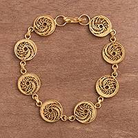 Featured review for Gold plated sterling silver filigree link bracelet, Paisley Spirals