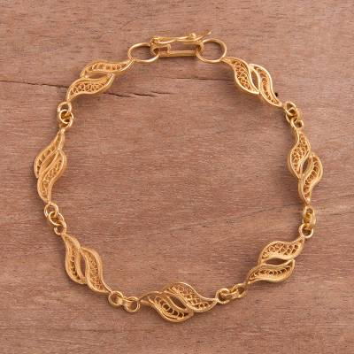 Gold plated sterling silver filigree link bracelet, Flowing Waves