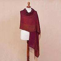 Alpaca blend shawl, 'Inviting Beauty' - Hand Woven Striped Alpaca Blend Shawl from Peru