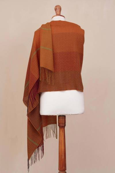 Alpaca blend shawl, 'Glorious Warmth' - Hand Woven Orange Alpaca Blend Shawl from Peru
