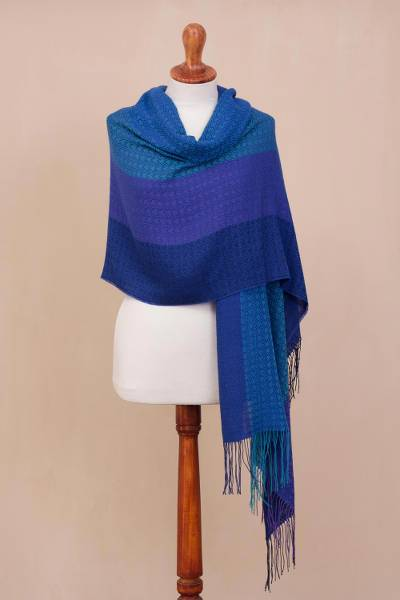 Alpaca blend shawl, 'Serene Glory' - Hand Woven Striped Alpaca Blend Shawl from Peru