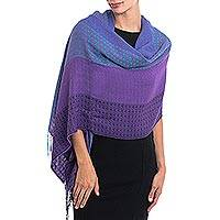 Alpaca blend shawl, 'Serene Radiance' - Hand Woven Striped Alpaca Blend Shawl from Peru