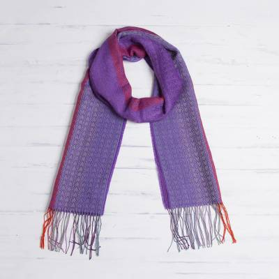 Alpaca blend scarf, 'Perfect Harmony' - Hand Woven Striped Alpaca Blend Wrap Scarf from Peru