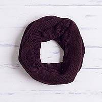 100% baby alpaca convertible cowl and cap, 'Cherry Cola' - Burgundy 100% Baby Alpaca Convertible Knit Cap and Cowl
