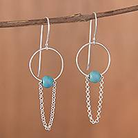 Sterling silver dangle earrings, 'Swinging Loops in Blue' - Composite Turquoise and Sterling Silver Dangle Earrings
