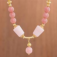 Opal pendant necklace, 'Rosy Radiance' - Gold Plated Pink Opal Pendant Necklace from Peru