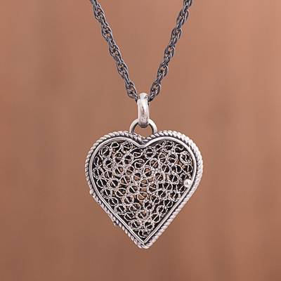 Sterling silver filigree locket necklace, 'Romantic Finesse' - Sterling Silver Filigree Heart Locket Necklace from Peru