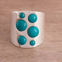Chrysocolla cocktail ring, 'Dramatic Intrigue' - Chrysocolla and Sterling Silver Cocktail Ring from Peru