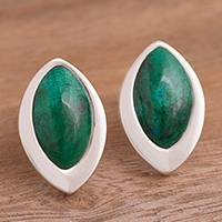 Chrysocolla button earrings, 'Dazzling Diva' - Sterling Silver and Chrysocolla Button Earrings from Peru