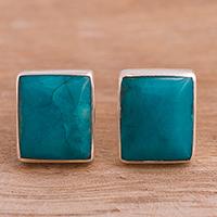 Chrysocolla stud earrings,