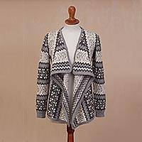 100% alpaca cardigan, 'Cozy Warmth in Grey and Ivory' - Knit Grey and Ivory Alpaca Cardigan Sweater from Peru