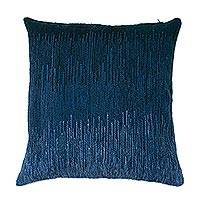Wool cushion cover, 'Pacific Vibes' - Hand Woven Blue Wool Cushion Cover from Peru