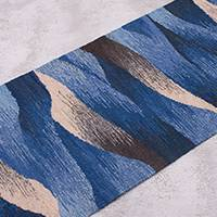 Wool table runner, 'Waves in Motion' - Hand Woven Blue Rectangular Wool Table Runner