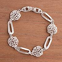 Sterling silver link bracelet, 'Harmony of Roses' - Floral Sterling Silver Link Bracelet Crafted in Peru