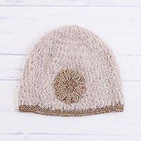 Alpaca blend hat, 'Tan Flower' - Floral Alpaca Blend Hat in Tan and Ivory from Peru