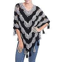 100% alpaca poncho, 'Chic Night' - Hand-Crocheted Grey and Black 100% Alpaca Poncho from Peru