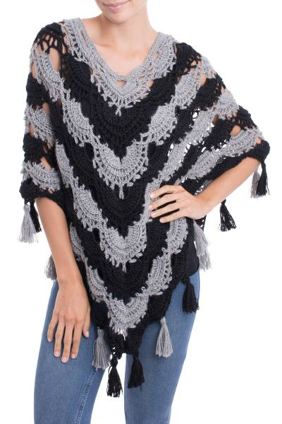 Hand-Crocheted Grey and Black 100% Alpaca Poncho from Peru