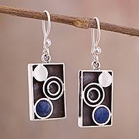 Sodalite dangle earrings, 'Blue Moon Phase' - Modern Circle Motif Sodalite Dangle Earrings from Peru