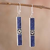 Sodalite dangle earrings, 'Royal Composition' - Rectangular Sodalite Dangle Earrings Crafted in Peru