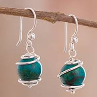 Chrysocolla dangle earrings, 'Planetary Spirals' - Spiral Motif Chrysocolla Dangle Earrings from Peru