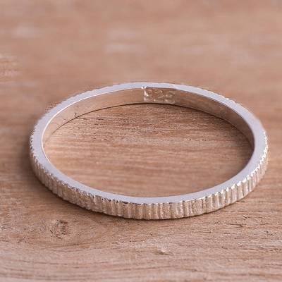 Textured Sterling Silver Band Ring from Peru