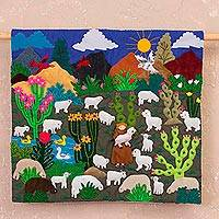 Cotton blend applique wall hanging, 'Life in the Andes' - Embroidered Cotton Blend Applique Wall Hanging from Peru