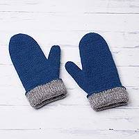 100% alpaca mittens, 'Striking Contrast in Azure' - 100% Alpaca Mittens in Azure and Grey from Peru