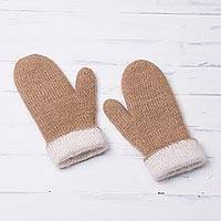 100% Alpaca Mittens, 'Striking Contrast in Tan' - Knit 100% Alpaca Mittens in Tan and White from Peru