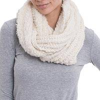 Baby alpaca and wool blend infinity scarf, 'Antique White Bliss' - Hand-Crocheted Baby Alpaca Blend Infinity Scarf from Peru