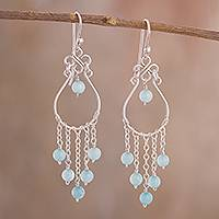 Aquamarine chandelier earrings, 'Healing Rain' - Aquamarine Chandelier Earrings Crafted in Peru
