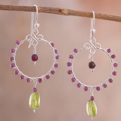 Peridot and garnet dangle earrings, 'Gleaming Festival' - Peridot and Garnet Dangle Earrings from Peru