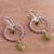 Peridot and garnet dangle earrings, 'Gleaming Festival' - Peridot and Garnet Dangle Earrings from Peru (image 2b) thumbail