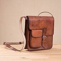 Leather messenger bag, 'Casual Business' - Handcrafted Leather Messenger Bag from Peru