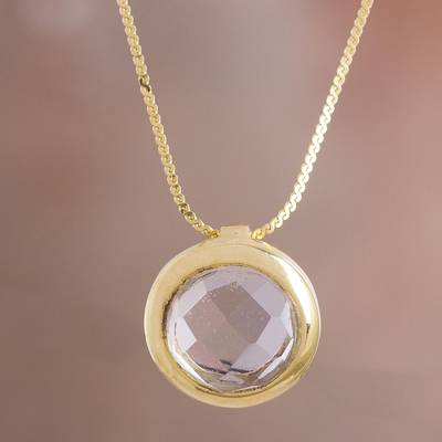 Gold plated quartz pendant necklace, Golden Circle