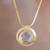 Gold plated quartz pendant necklace, 'Golden Circle' - 18k Gold Plated Quartz Pendant Necklace from Peru thumbail