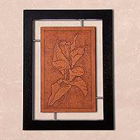 Leather wall art, 'Beautiful Lilies' - Handmade Floral Leather Wall Art from Peru