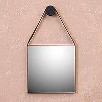 Leather wall mirror, 'Bright Image' - Square Leather Nazca Line Wall Mirror from Peru